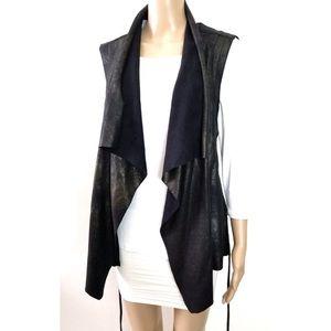 ZARA Black Suede Belted Draped Waterfall Vest